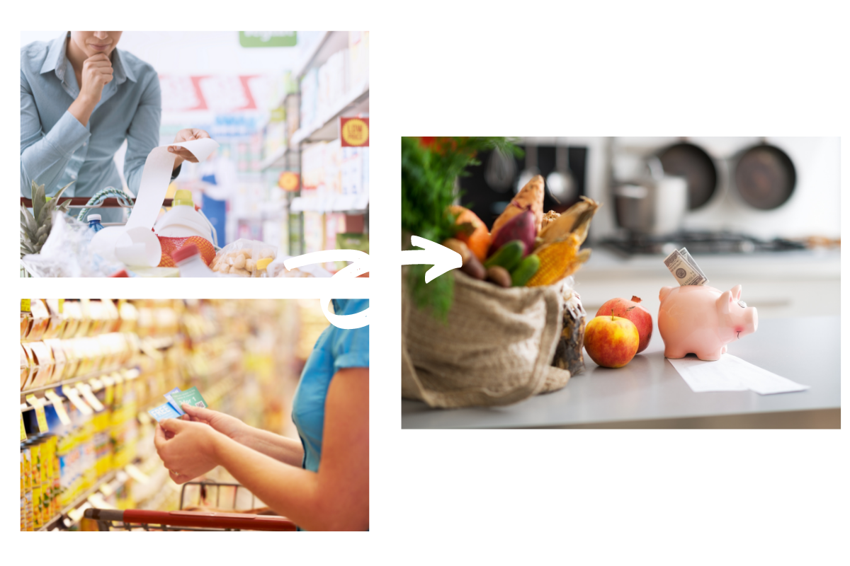 visual transformation of money saving demonstrated by use of the grocery assistant